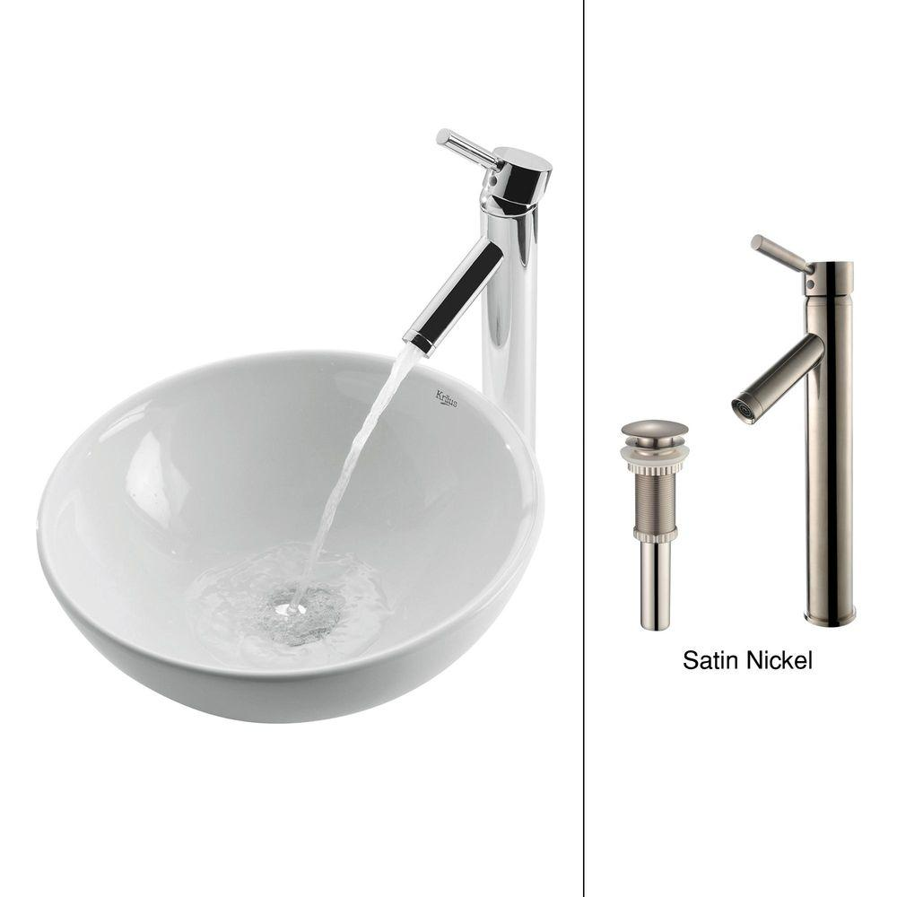 Kraus Soft Round Ceramic Vessel Sink In White With Sheven Faucet In Satin Nickel C Kcv 141