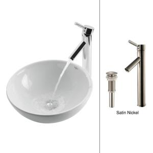 Kraus Soft Round Ceramic Vessel Sink in White with Sheven Faucet in Satin Nickel by KRAUS