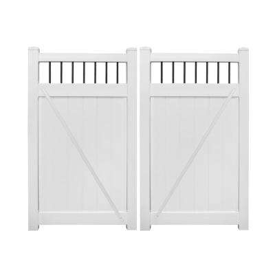 Bradford 7.4 ft. W x 7 ft. H White Vinyl Privacy Fence Double Gate Kit
