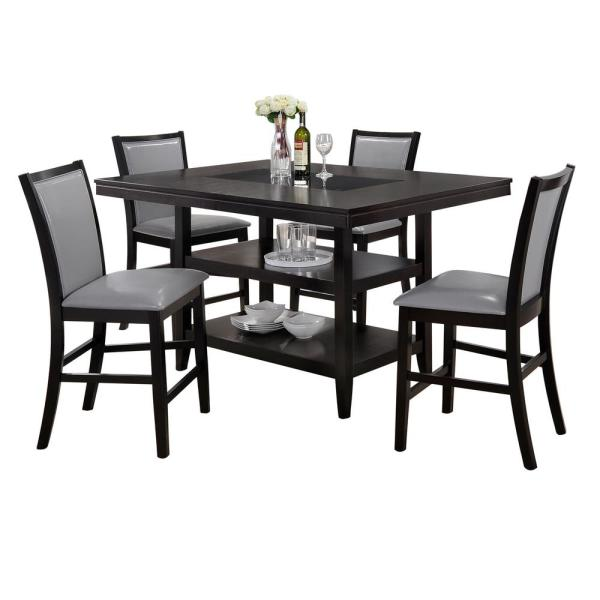 Home Source Industries Home Source Grazia Espresso 5 Piece Counter Height Dining Set 1 Table With Storage And 4 Chairs H 6056 5 Mop The Home Depot