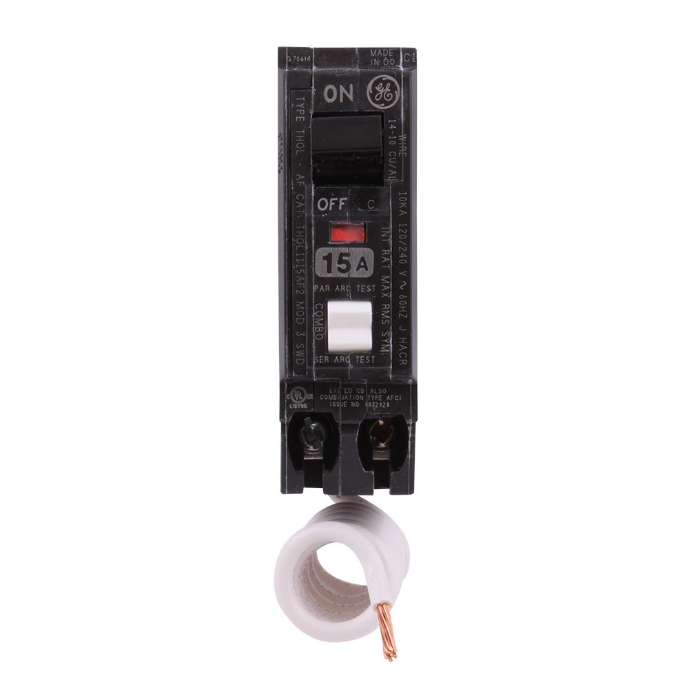 GE Q-Line 15 Amp Single-Pole Arc Fault Combination Circuit Breaker ...