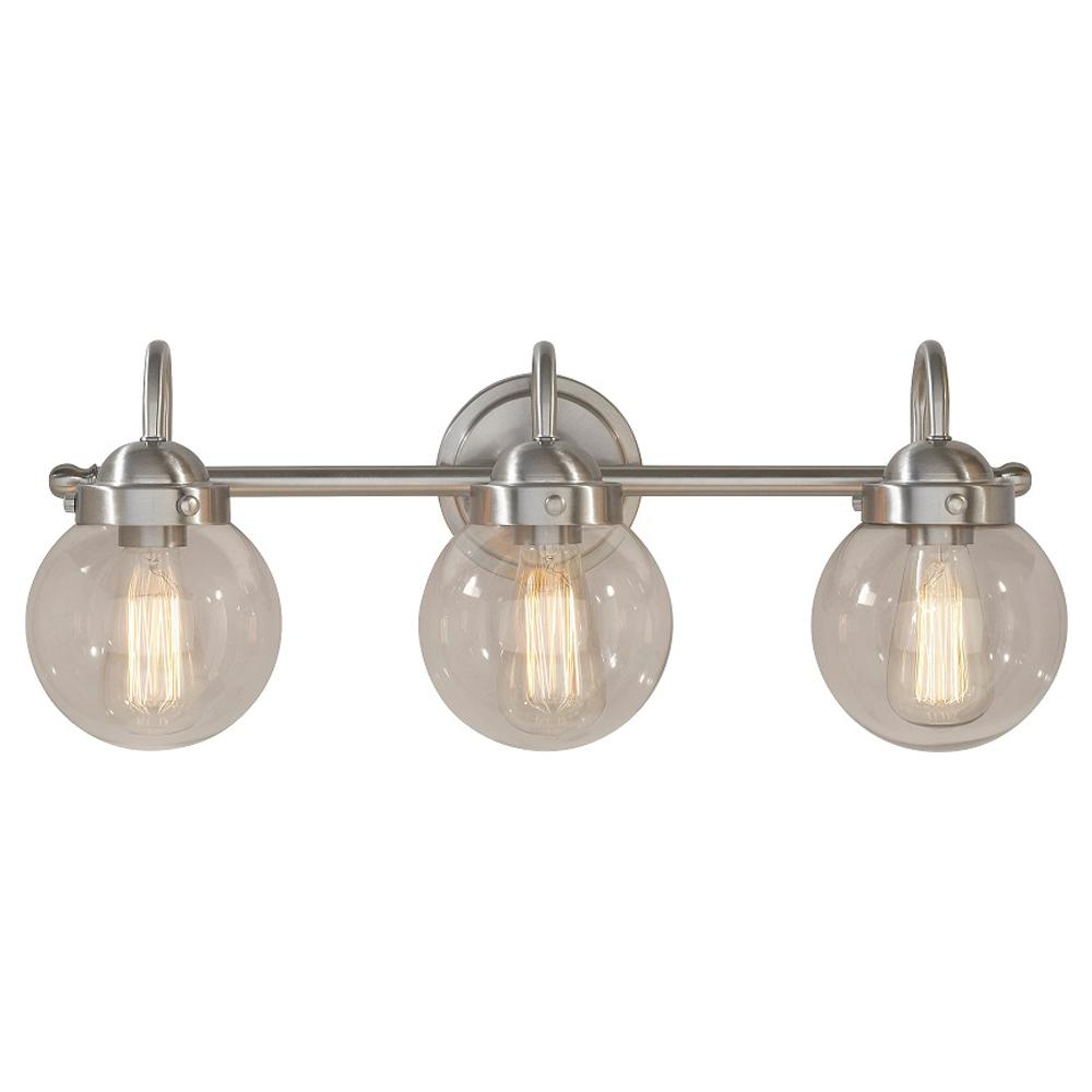 Dsi Lighting Olivia 3 Light Brushed Nickel Bath With Gl Globe Shades