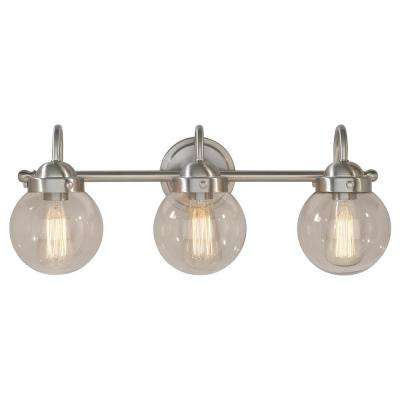 Olivia 3-Light Brushed Steel Bath Light with Glass Globe Shades