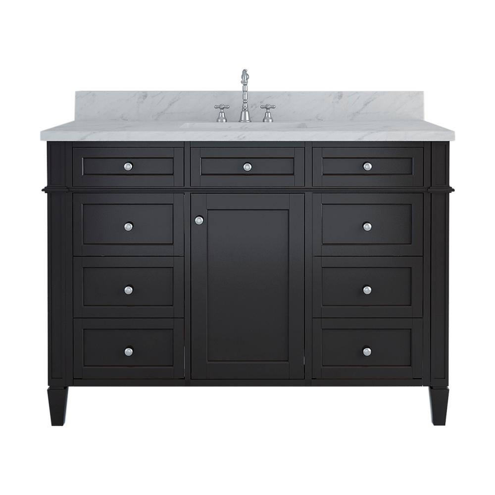 Birmingham 48 in. W x 34 in. H Bath Vanity in Espresso with Marble Vanity Top in White with White Basin