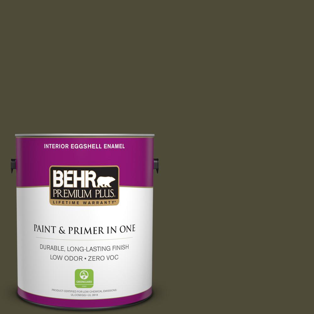 BEHR Premium Plus 1-gal. #S-H-760 Olive Leaf Zero VOC Eggshell Enamel Interior Paint
