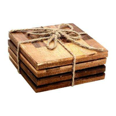 4-Piece Brick Bond Wood Coaster Set