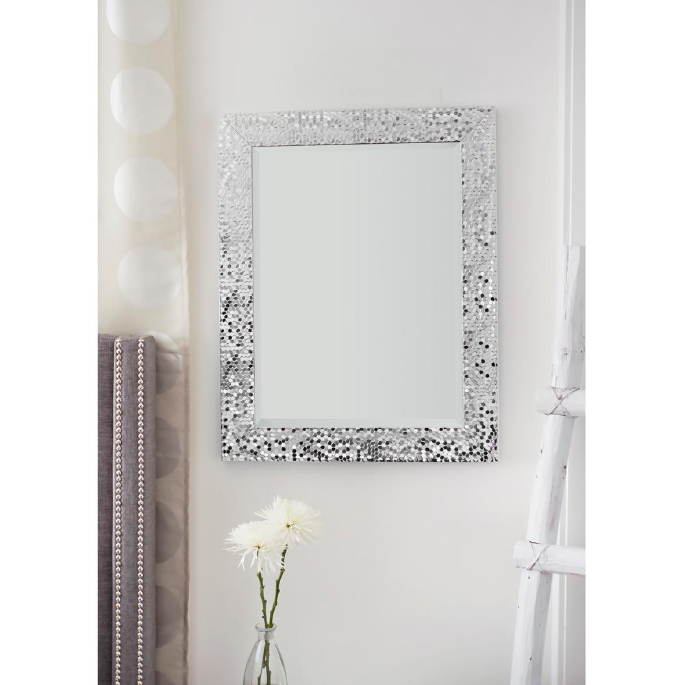 29.25 in. x 23.25 in. Silver Mosaic Beveled Pattern Wall ...