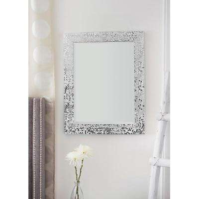 29.25 in. x 23.25 in. Silver Mosaic Beveled Pattern Wall Mirror
