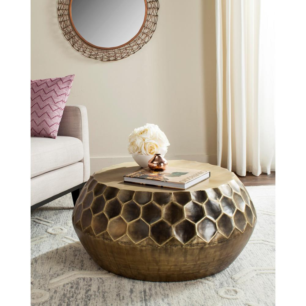 Genial Safavieh Roxanna Antique Brass Coffee Table