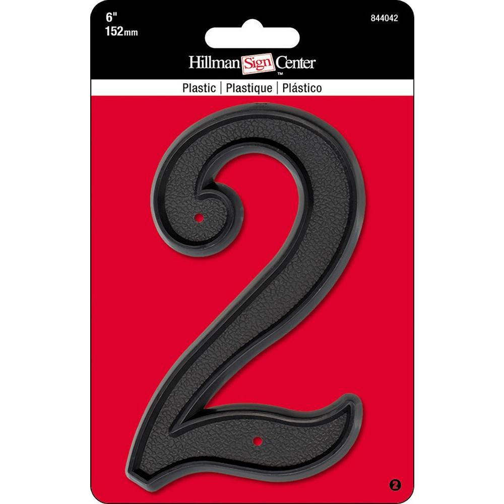 6 in. Black Plastic Number 2