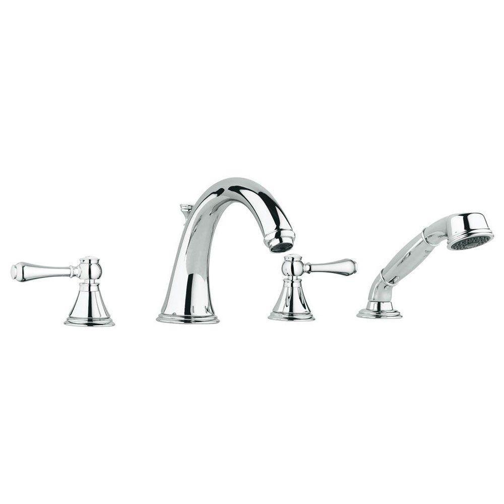 Geneva 2-Handle Deck-Mount Roman Bathtub Faucet with Handheld Shower in StarLight Chrome