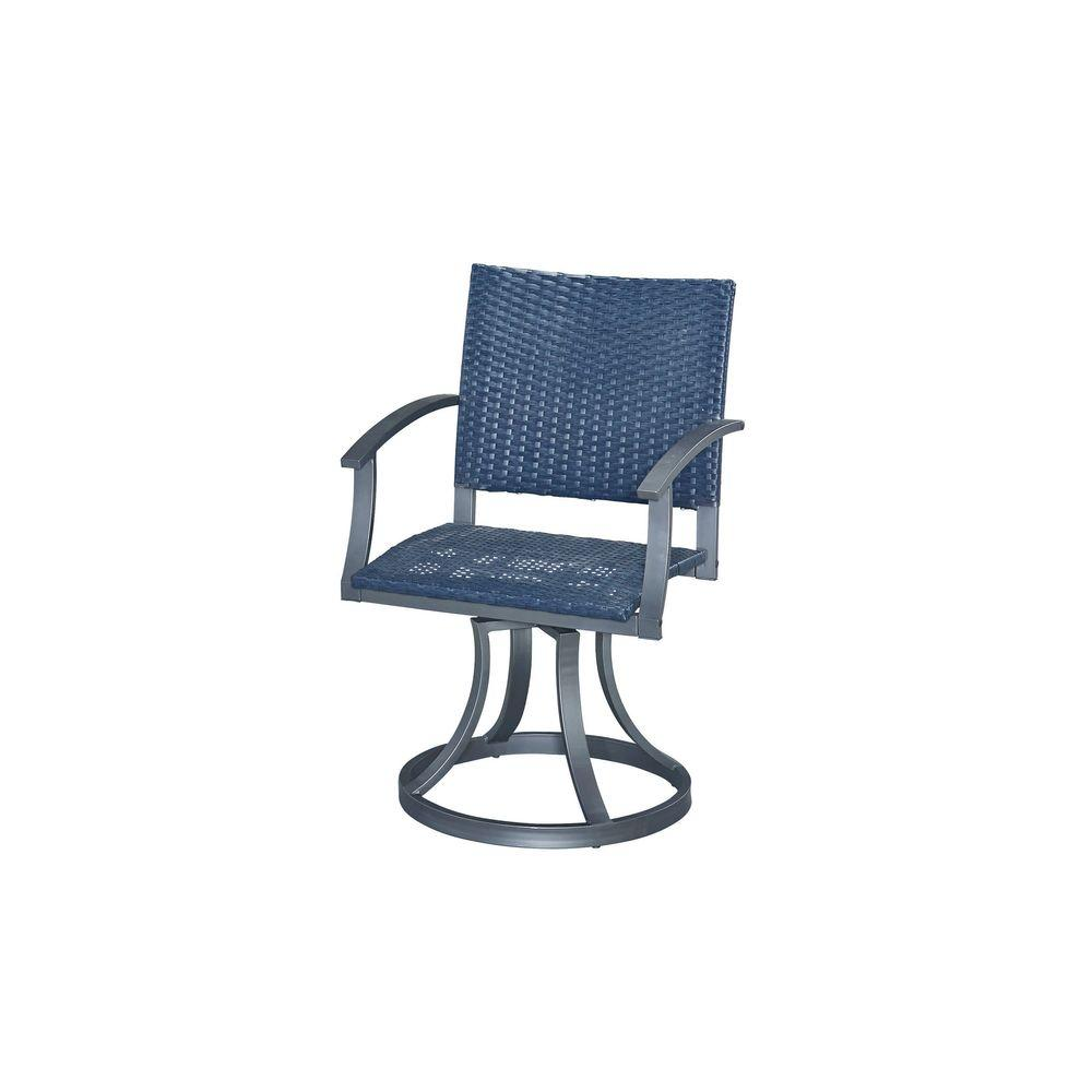 Gray All-Weather Wicker Motion Patio Dining Chair