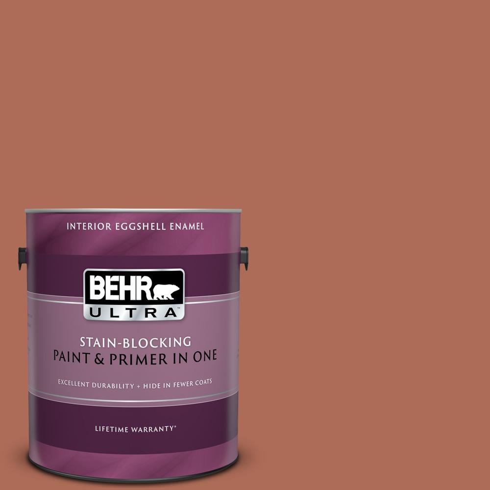 Behr Ultra 1 Gal Bxc 39 Sunset Orange Eggshell Enamel Interior Paint And Primer In One 275301 The Home Depot