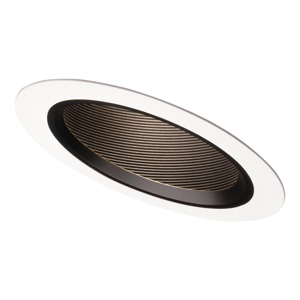 Halo 6 In Black Recessed Lighting Sloped Ceiling White Trim With Baffle
