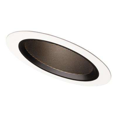 6 in. Black Recessed Lighting Sloped Ceiling White Trim with Baffle