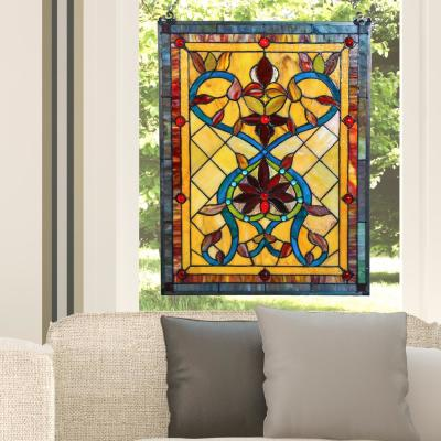 Multi Stained Glass Fiery Hearts and Flowers Window Panel