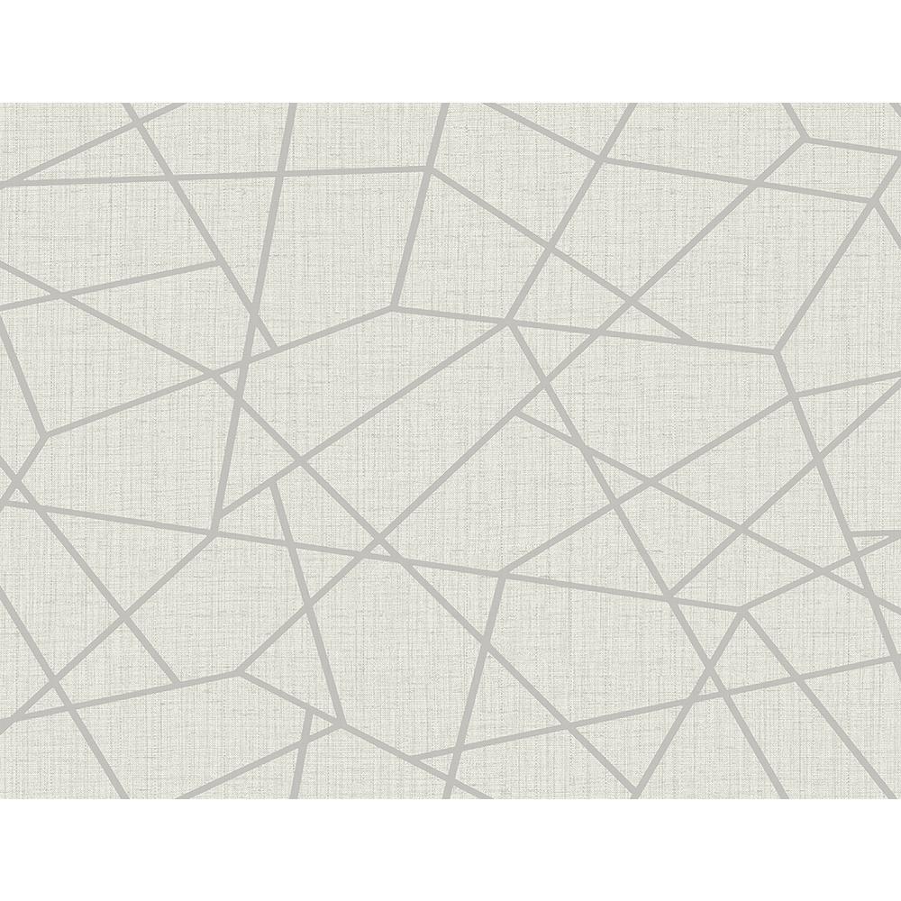 60.8 sq. ft. Heath Silver Geometric Linen Wallpaper