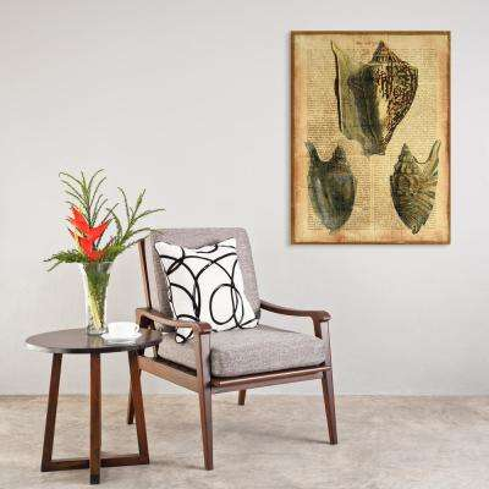 "36 in. x 27 in. ""Antiquarian Shells 1"" Digital Print on Fresco Jute Wall Art"