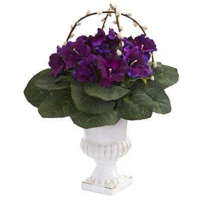 Indoor Gloxinia Artificial Plant in White Urn