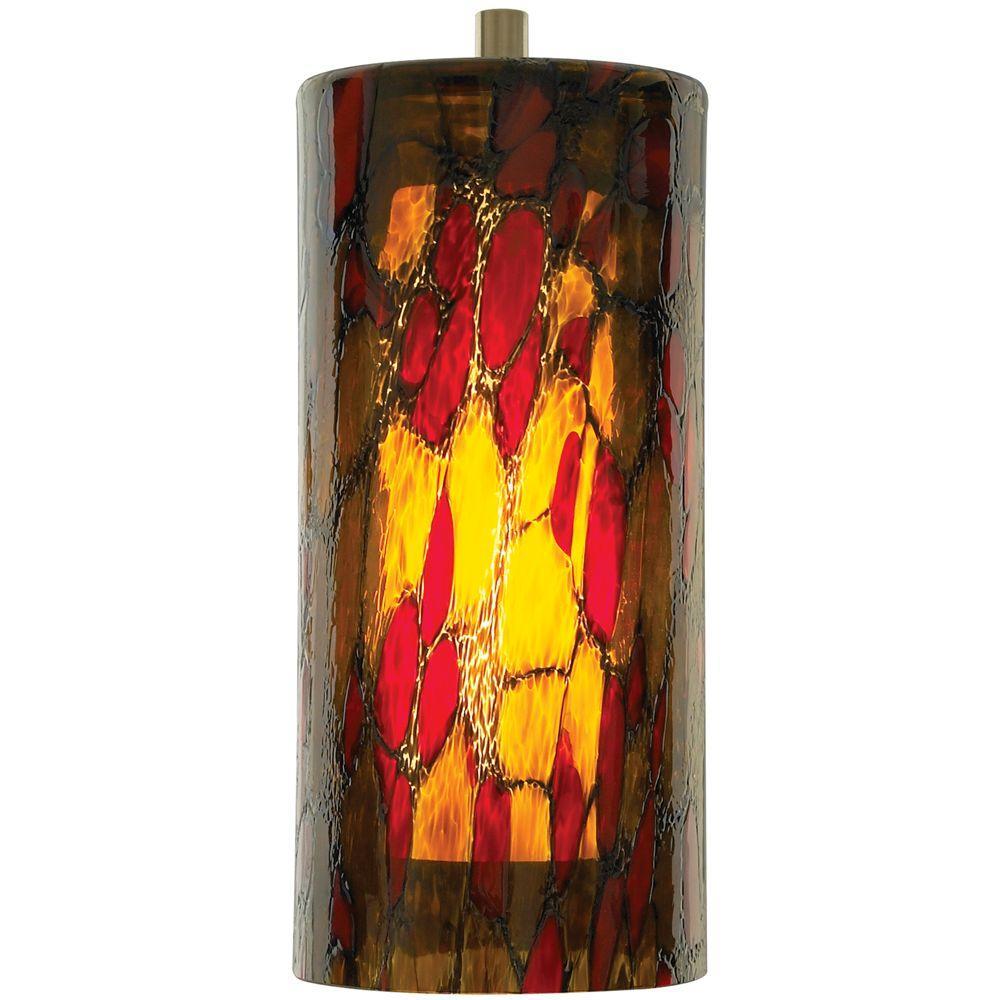 Abbey 1-Light Amber-Red Satin Nickel Hanging Mini Pendant