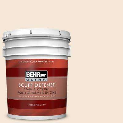 5 gal. #OR-W09 Cottage White Extra Durable Flat Interior Paint and Primer in One