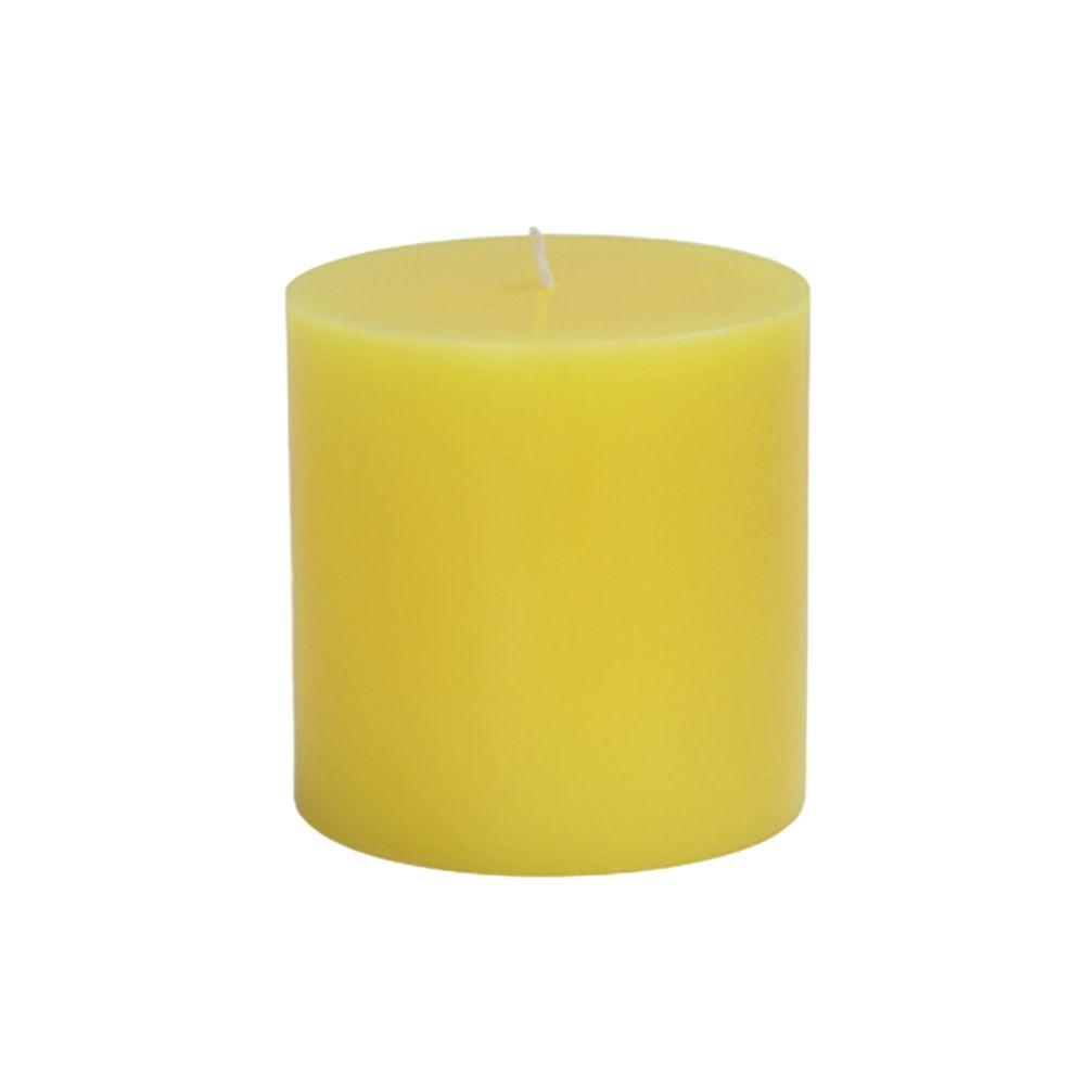 Zest Candle 3 in. x 3 in. Yellow Citronella Pillar Candles Bulk (12-Case)-DISCONTINUED