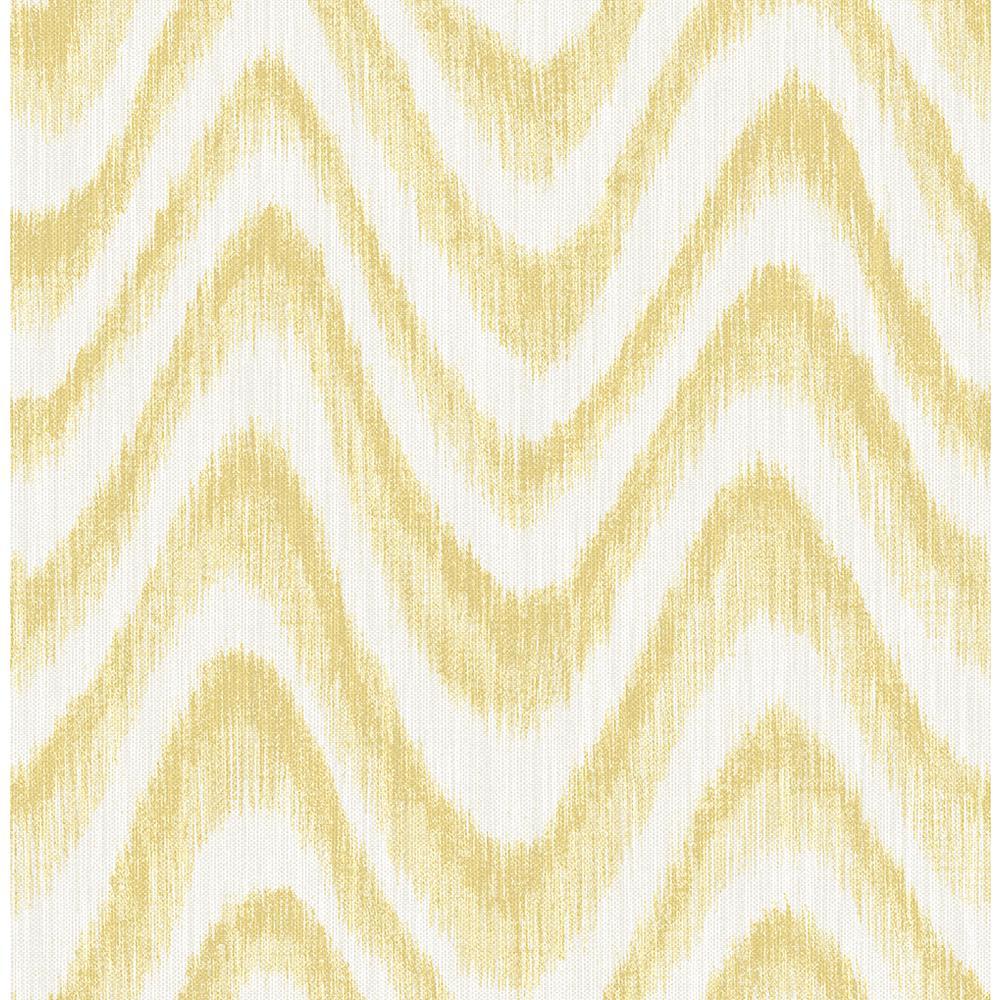 A-Street 56.4 sq. ft. Bargello Yellow Faux Grasscloth Wave Wallpaper 2901-25409