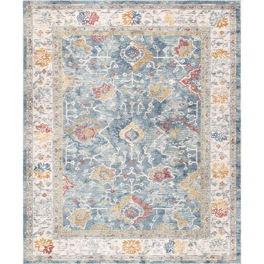 Pasargad Home Heritage Light Blue 3 Ft X 5 Ft Floral Polypropylene And Polyester Ara Rug Pfh 04 3x5 The Home Depot