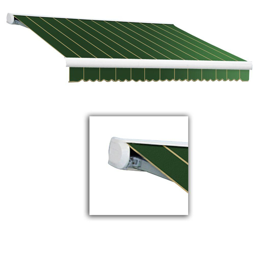 AWNTECH 14 ft. Key West Full-Cassette Left Motor Retractable Awning with Remote (120 in. Projection) in Forest Pin