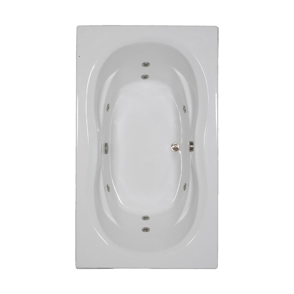 72 in. Rectangular Drop-in Whirlpool Bathtub in White