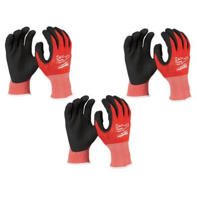 XX-Large Red Nitrile Level 1 Cut Resistant Dipped Work Gloves (3-Pack)