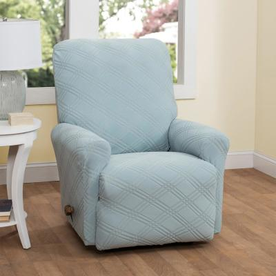Stretch Double Diamond Spa Blue Recliner Slipcover