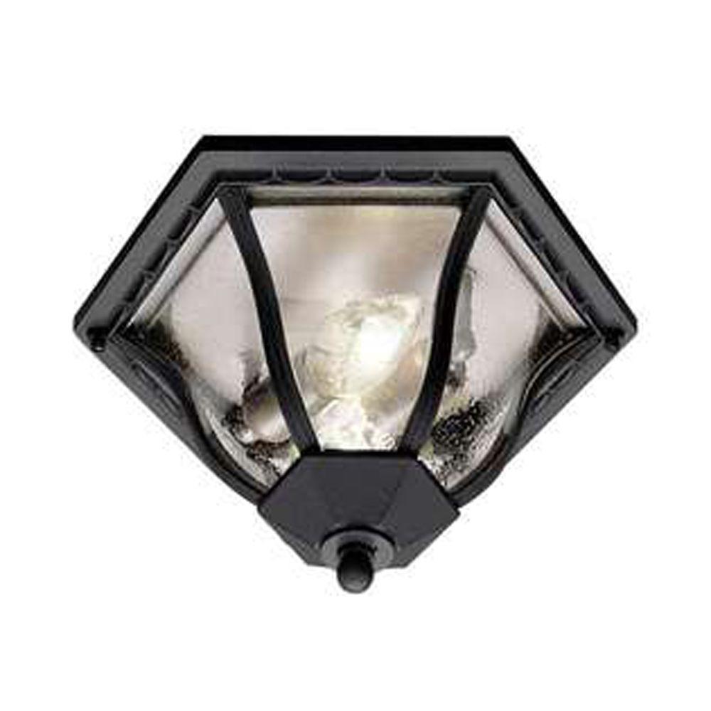 Stewart 1-Light Outdoor Black Incandescent Flush Mount