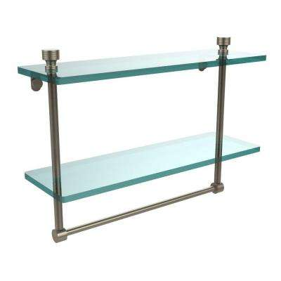Foxtrot 16 in. L  x 12 in. H  x 5 in. W 2-Tier Clear Glass Bathroom Shelf with Towel Bar in Antique Pewter