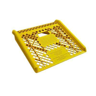 600 lb. Capacity 27 in. Yellow Molded Engineered Plastic Curb Ramp with Non-Skid Open Surface and Hand Cut-Out