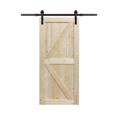 36 in x 84 in Spruce Wood Unfinished Barn Door with Sliding Door Hardware Kit
