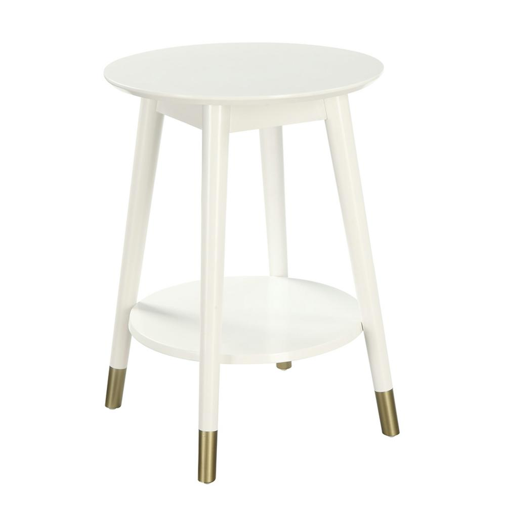 e9367f4e745 Convenience Concepts Wilson Mid Century White Round with Bottom Shelf End  Table-R6-221 - The Home Depot