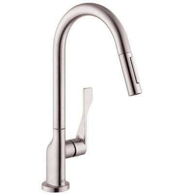 Axor Citterio Single-Handle Pull-Down Sprayer Kitchen Faucet in Steel Optik