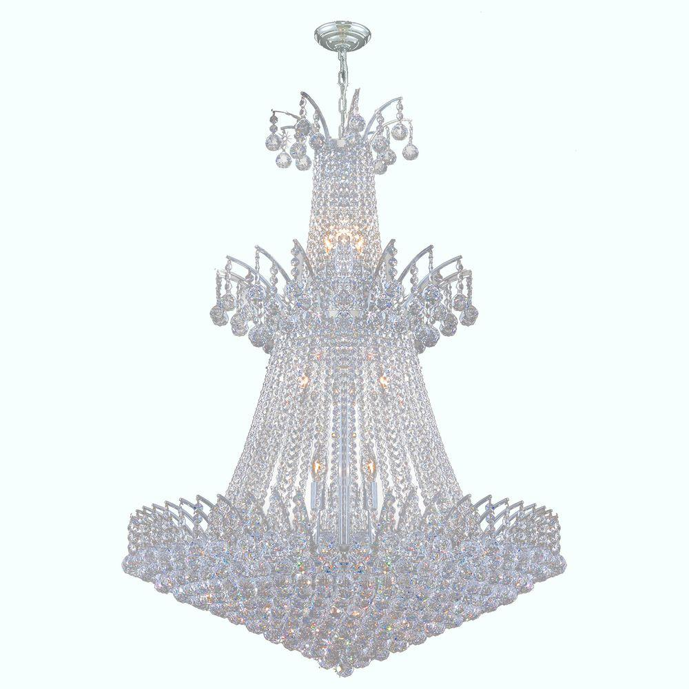 Worldwide Lighting Empire Collection 18-Light Polished Chrome Crystal Chandelier