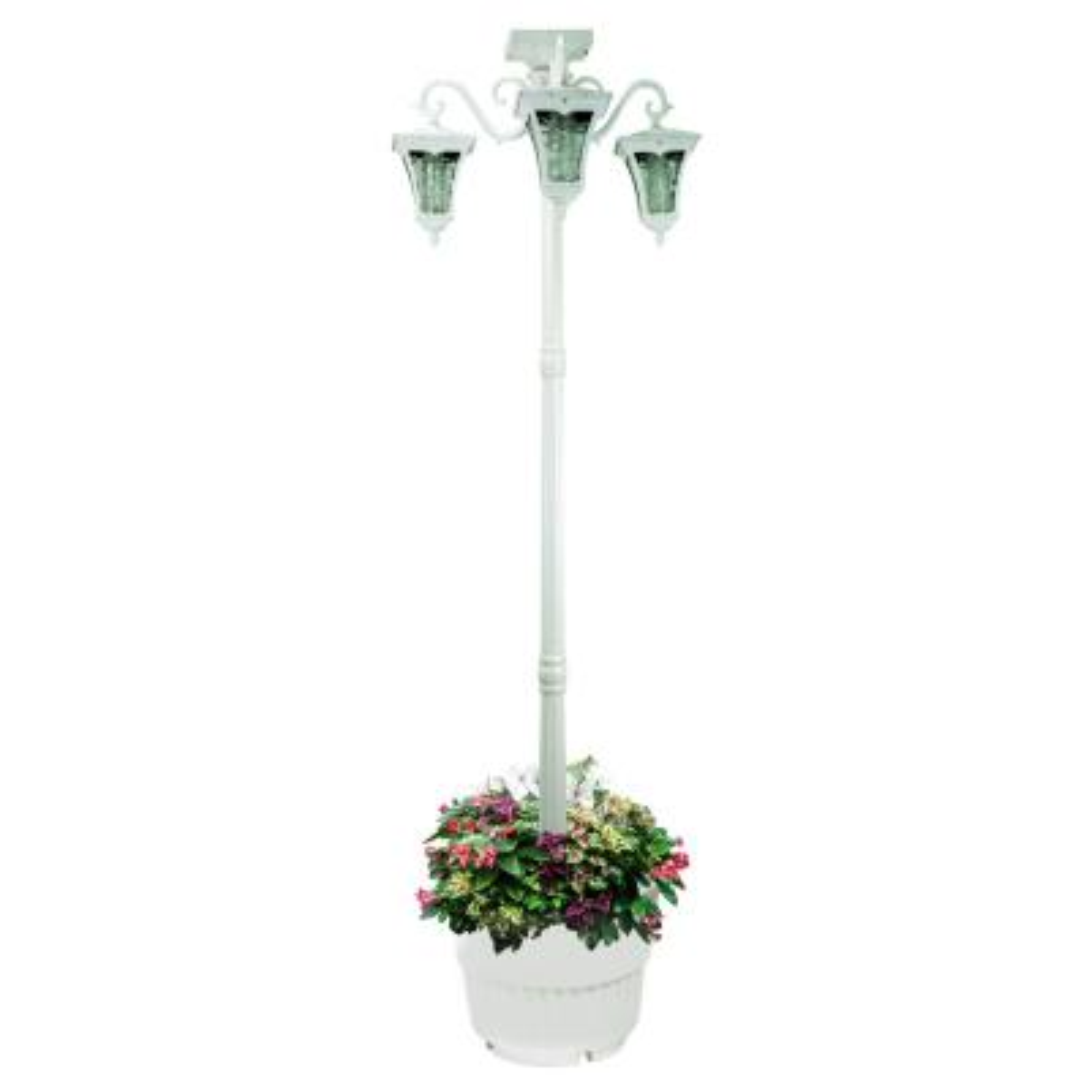 Vittoria 3-Lamp Integrated LED White Solar Lamp Post and Planter