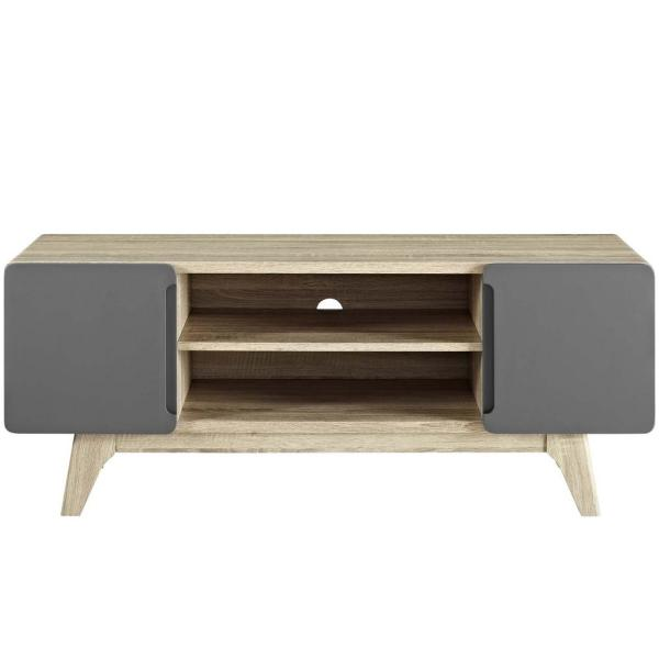 MODWAY Tread 47 in. Natural Gray TV Stand EEI-2532-NAT-GRY