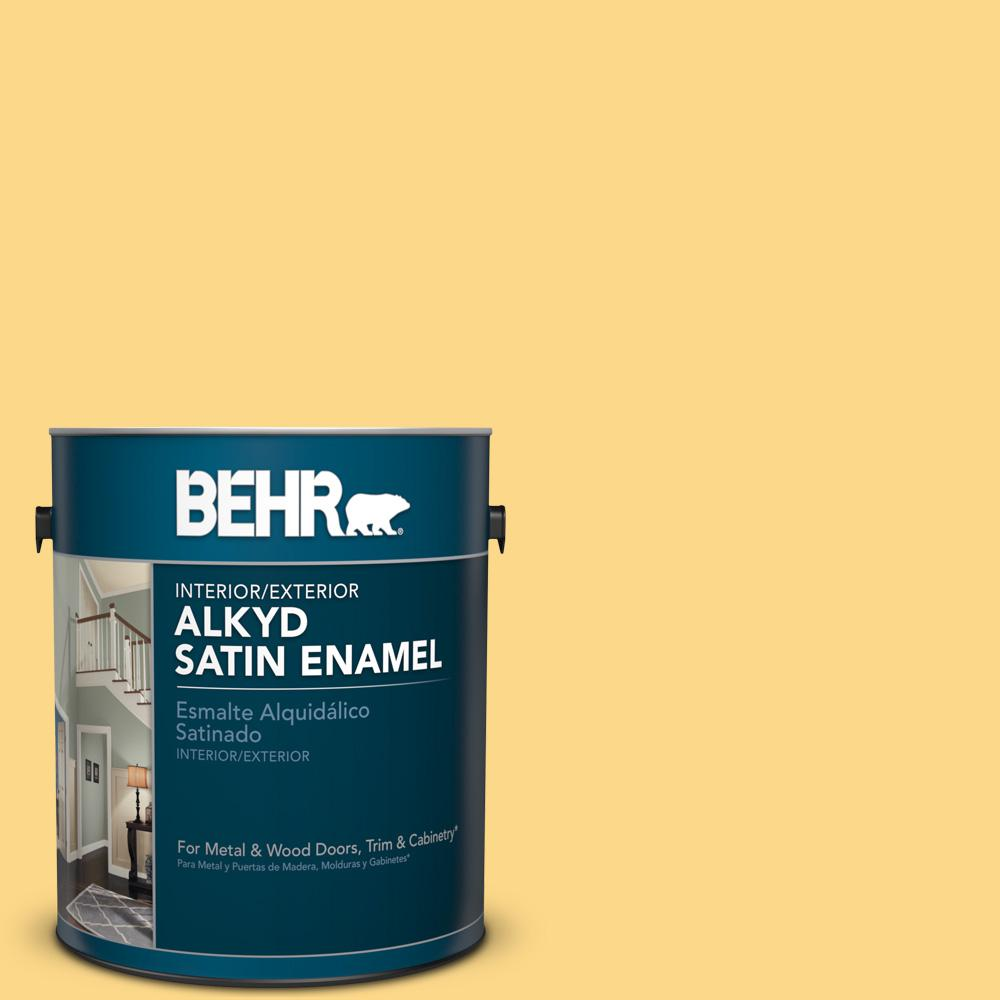 1 gal. #P280-4 Surfboard Yellow Satin Enamel Alkyd Interior/Exterior Paint