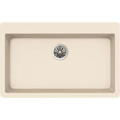 Quartz Luxe Drop-In Composite 33 in. Single Bowl Kitchen Sink in Parchment