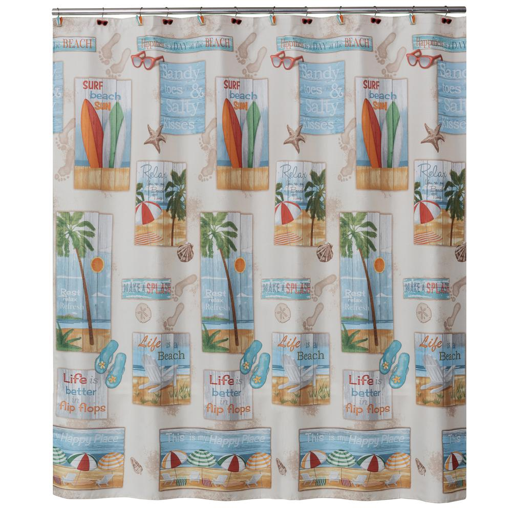 Saturday Knight Beach Time 72 In Multi Color Shower Curtain