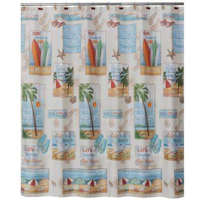 Beach Time 72 in. Multi Color Shower Curtain