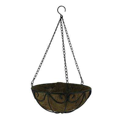 Black Metal Scroll Metal Hanging Basket with Coconut Fiber Liner