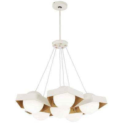 Five-O 100-Watt Equivalence Textured White Integrated LED Chandelier with Etched Opal Glass Shade