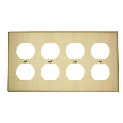 4-Gang Standard Size, 4-Duplex Receptacles and Plastic Wall Plate in Ivory