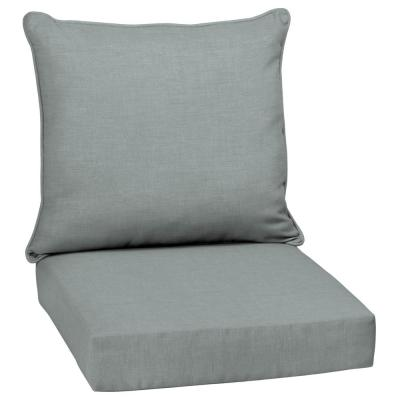 24 in. x 22.5 in. Stone Leala Texture 2-Piece Deep Seating Outdoor Lounge Chair Cushion