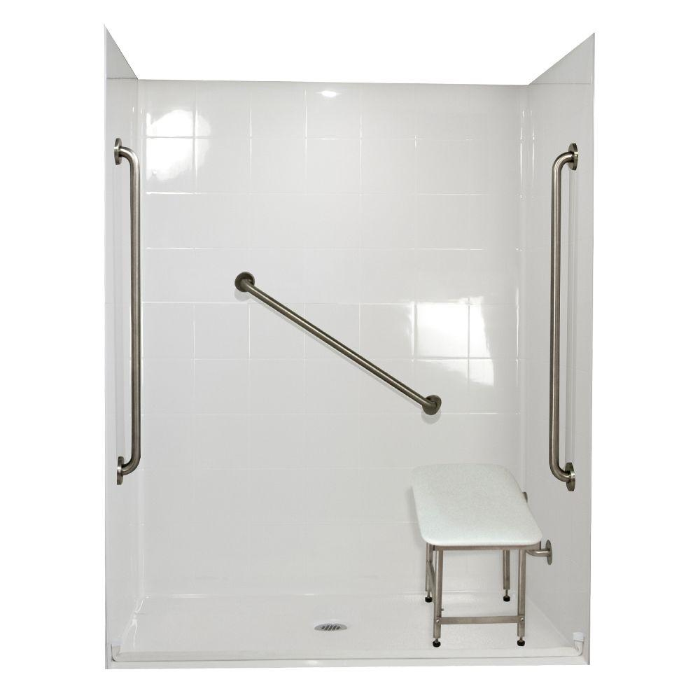 Ella Standard Plus 36 31 in. x 60 in. x 77-1/2 in. Barrier Free Roll-In Shower Kit in White with Center Drain